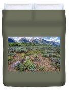 Wildflowers Bloom Below Teton Mountain  Range Duvet Cover