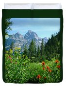 1m9372-v-wildflowers In Cascade Canyon, Tetons Duvet Cover