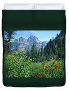 1m9371-h-wildflowers In Cascade Canyon, Tetons Duvet Cover