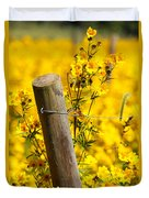 Wildflowers On Fence Post Duvet Cover