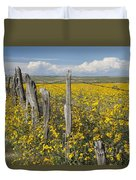 Wildflowers Surround Rustic Barb Wire Duvet Cover