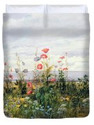 Wildflowers With A View Of Dublin Dunleary Duvet Cover