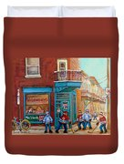 Wilensky Montreal-fairmount And Clark-montreal City Scene Painting Duvet Cover by Carole Spandau