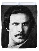 Will Ferrell Anchorman The Legend Of Ron Burgundy Drawing Duvet Cover