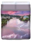 Willamette Falls During Sunset Duvet Cover