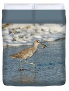 Willet With Sand Crab Duvet Cover