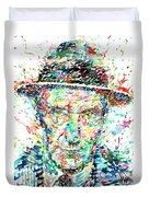 William Burroughs Watercolor Portrait Duvet Cover
