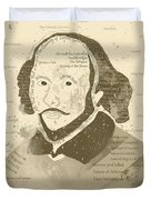 William Shakespeare Typography Portrait  Duvet Cover