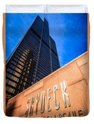 Willis-sears Tower Skydeck Sign Duvet Cover by Paul Velgos