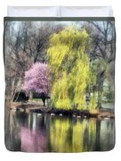Willow And Cherry By Lake Duvet Cover