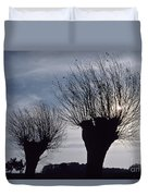Willow Trees In Winter Duvet Cover