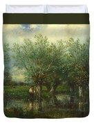 Willows With A Man Fishing Duvet Cover