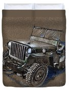 Willys Car Drawing Duvet Cover