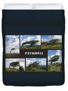 Wind-bent Flag Trees In Tierra Del Fuego Duvet Cover