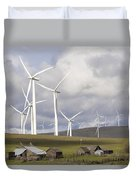Wind Farm By Cattle Ranch In Washington State Duvet Cover