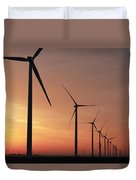 Wind Farm Sunrise Duvet Cover