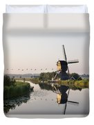 Wind Mill On A Canal, Holland Duvet Cover