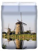 Wind Mills Next To Canal, Holland Duvet Cover