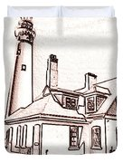 Wind Point Lighthouse Drawing Mode 1 Duvet Cover