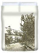 Wind Point Lighthouse Drawing Mode 2 Duvet Cover