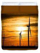 Wind Turbine Farm Picture Indiana Sunrise Duvet Cover