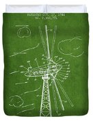 Wind Turbine Patent From 1944 - Green Duvet Cover