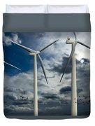 Wind Turbines Blue Sky Duvet Cover