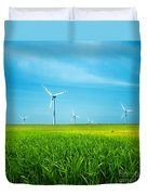 Wind Turbines On Green Field Duvet Cover