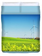 Wind Turbines On Spring Field Duvet Cover