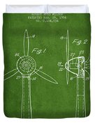 Wind Turbines Patent From 1984 - Green Duvet Cover