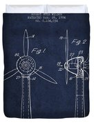 Wind Turbines Patent From 1984 - Navy Blue Duvet Cover