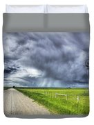 Windmill And Country Road With Storm Duvet Cover