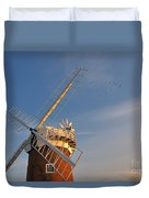 Windmill At Dusk On The Norfolk Broads In Autumn Duvet Cover