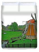 Windmill In A Park In Enkhuizen-netherlands Duvet Cover