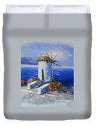Windmill In Greece Duvet Cover