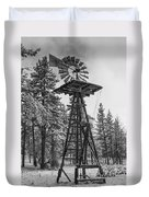 Windmill In The Snow Black And White Duvet Cover
