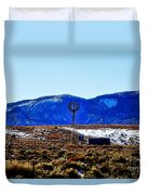 Windmill In The Snow Duvet Cover