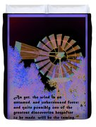 Windmill With Lincoln Quote Duvet Cover