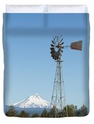 Windmill With Mount Jefferson In Central Oregon Duvet Cover