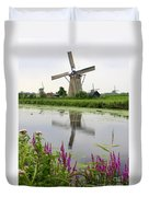 Windmills Of Kinderdijk With Flowers Duvet Cover