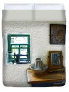 Window And Little Dressing Table In An Old Thatched Cottage Duvet Cover
