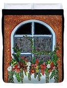 Window Flower Box On A Stucco Wall Duvet Cover