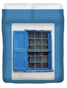 window in blue - British style window in a mediterranean blue Duvet Cover