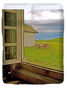 Window On Sod-covered Roof In Louisbourg Living History Museum-1744-ns Duvet Cover