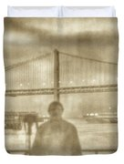 window self-portrait Embarcadero San Francisco Duvet Cover