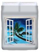 Window To Paradise Beach Duvet Cover