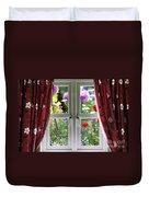 Window View Onto Wild Summer Garden Duvet Cover
