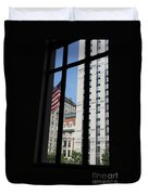 Window View With Flag Duvet Cover