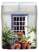 Window With Blue Trim Duvet Cover
