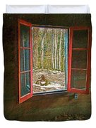 Window With View Abandoned Elkmont Log Cabin Autumn Duvet Cover